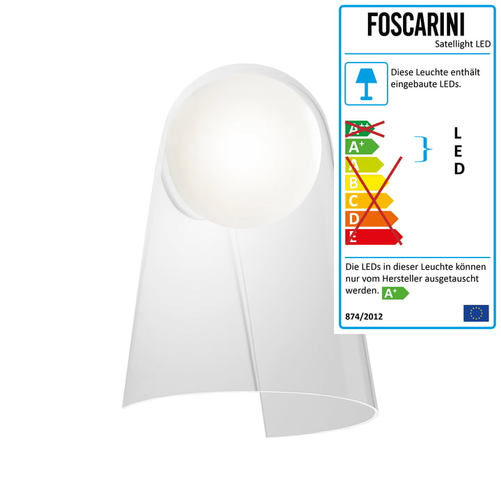 Satellight Wandleuchte LED von Foscarini in Weiß / Transparent