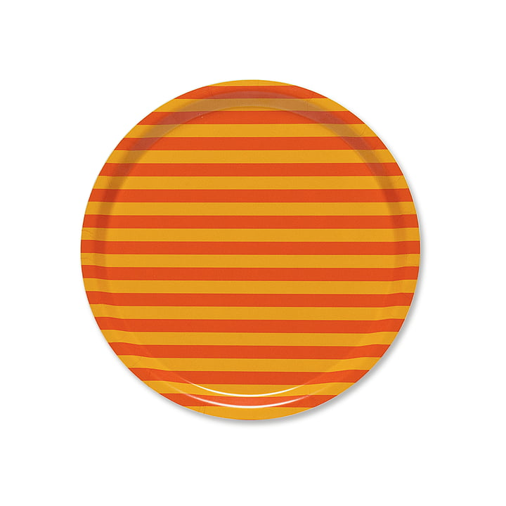 Tasaraita Tablett Ø 31 cm von Marimekko in Orange / Gelb