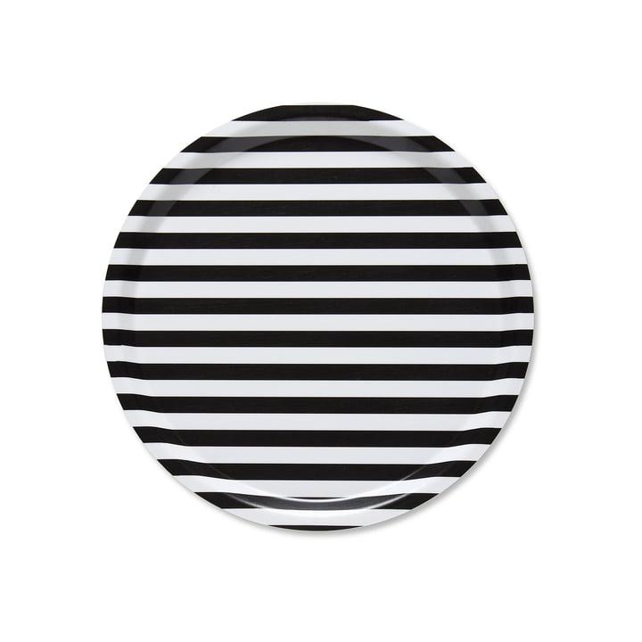 Tasaraita Tablett Ø 31 cm von Marimekko in Schwarz / Weiß