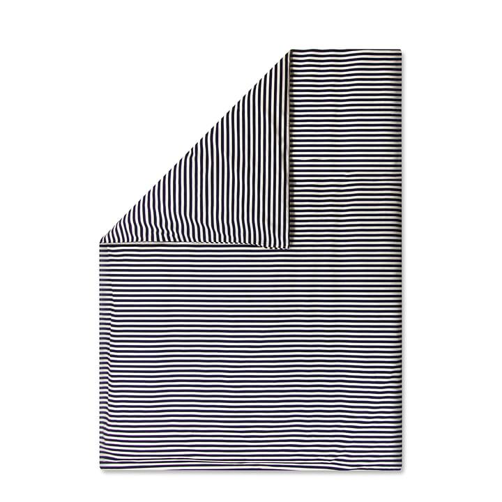 gestreifter Tasaraita Deckenbezug 140 x 200 cm von Marimekko in Dunkelblau / Weiß