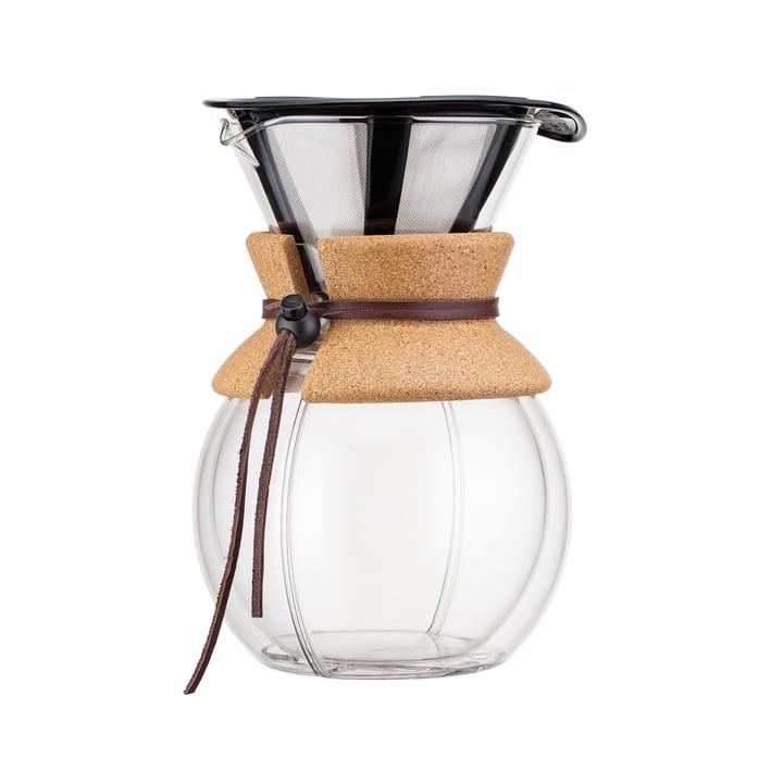 Bodum - Pour Over Kaffeebereiter mit Permanentfilter doppelwandig 1 l, kork