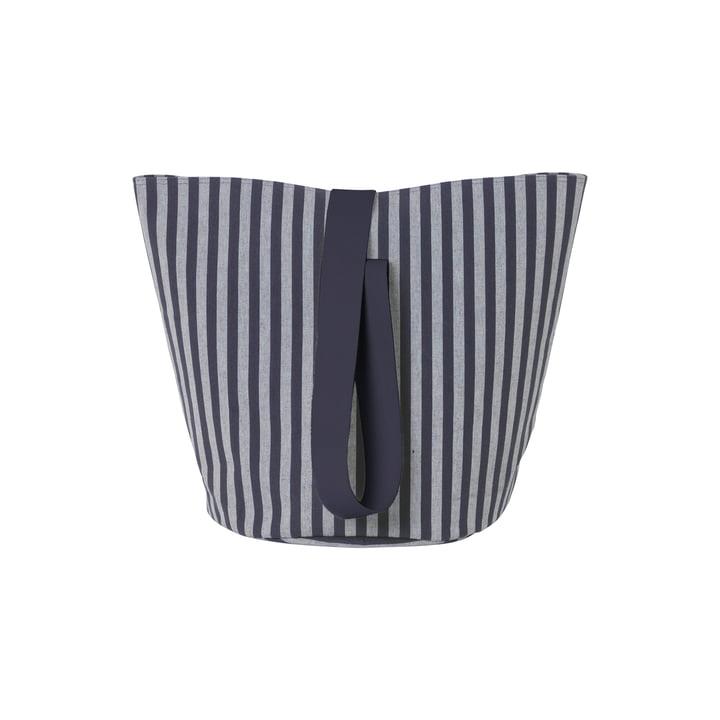 Chambray Basket Medium von ferm Living in Blau-Grau gestreift