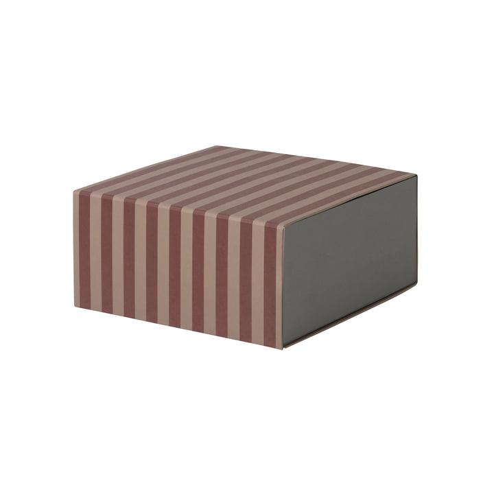 Striped Box quadratisch von ferm Living in Bordeaux/ Rosa