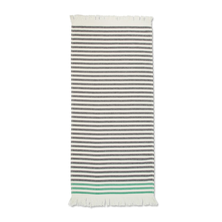 Tasaraita Handtuch 50 x 100 cm von Marimekko in Schwarz / Weiß / Grün