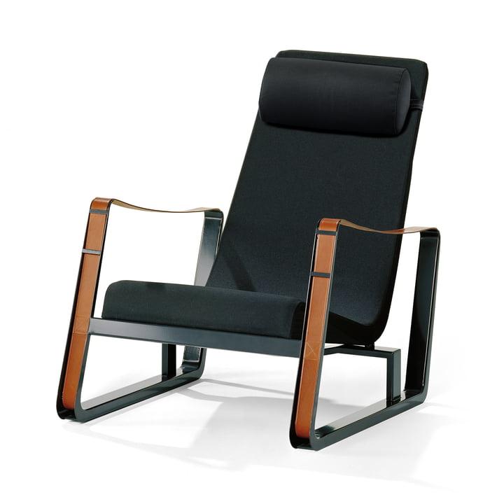 Der Vitra - Cité Sessel, Bezug schwarz (Cité 02), Gestell tiefschwarz / Ledergurte cognac (Filzgleiter)