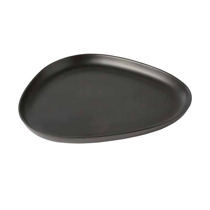 Curve Stoneware Platter 35 x 30 cm von LindDNA in Schwarz