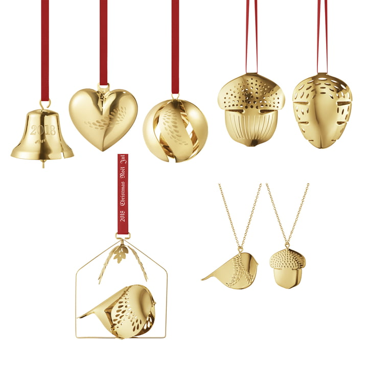 Das Georg Jensen - Christmas Collectibles 2018 Geschenk-Set (8tlg.), vergoldet