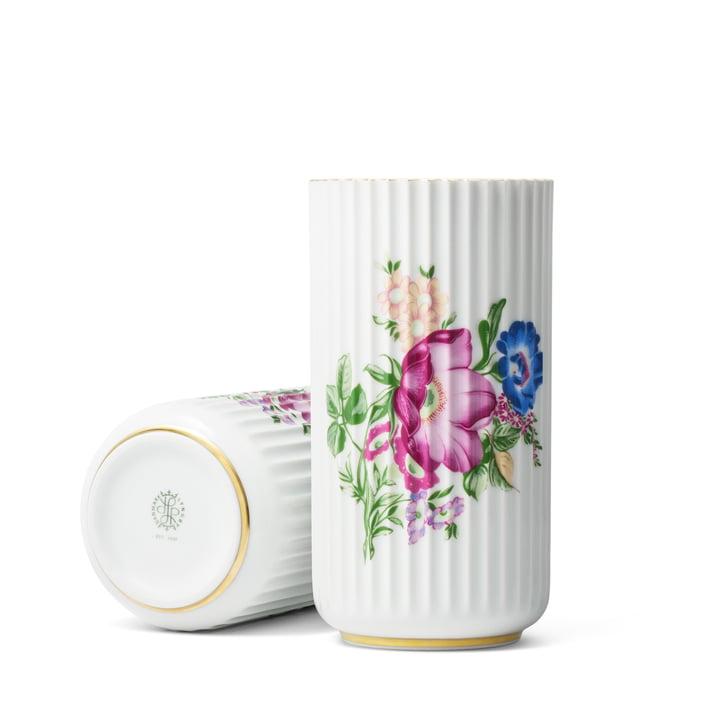Lyngbyvase mit Blumendekor H 20 cm von Lyngby Porcelæn