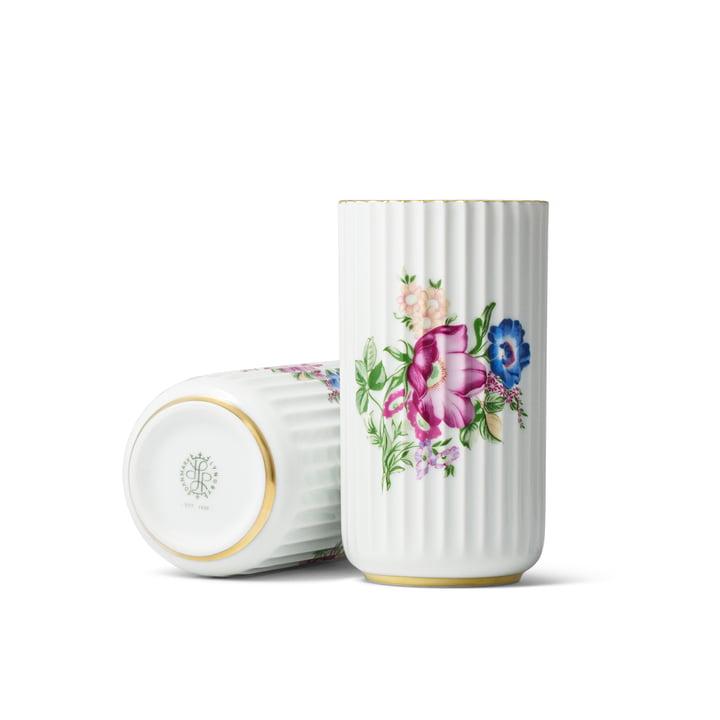 Lyngbyvase mit Blumendekor H 15 cm von Lyngby Porcelæn