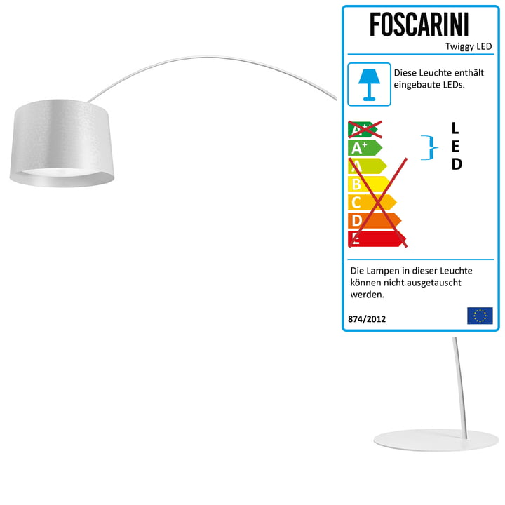 Die Foscarini   Twice As Twiggy LED Bogenleuchte, Dimmbar, Weiß