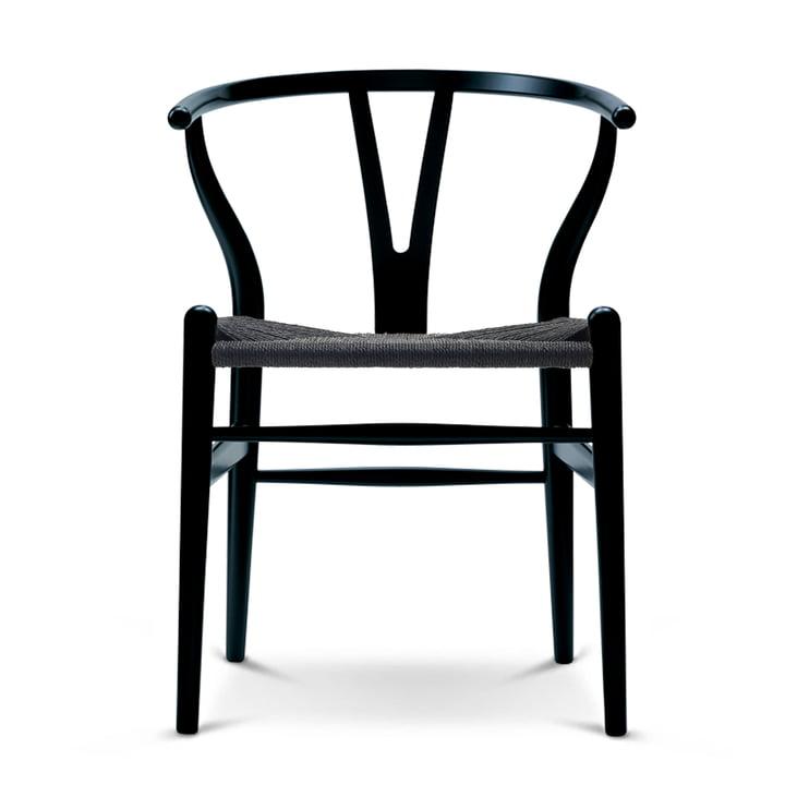 Der Carl Hansen - CH24 Wishbone Chair, Buche schwarz / schwarzes Geflecht