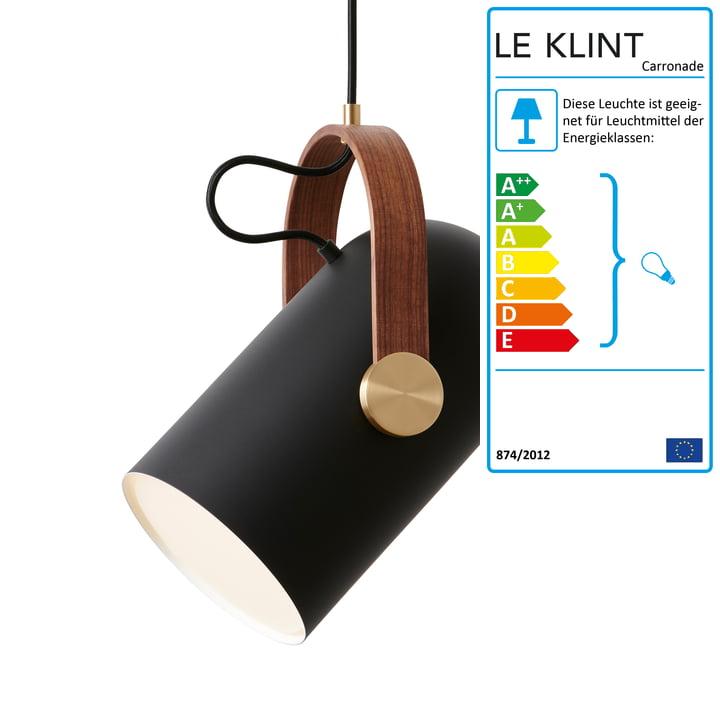 Die Le Klint - Carronade 160 Pendelleuchte medium, Black Classic - amerik. Nussbaum / Messing