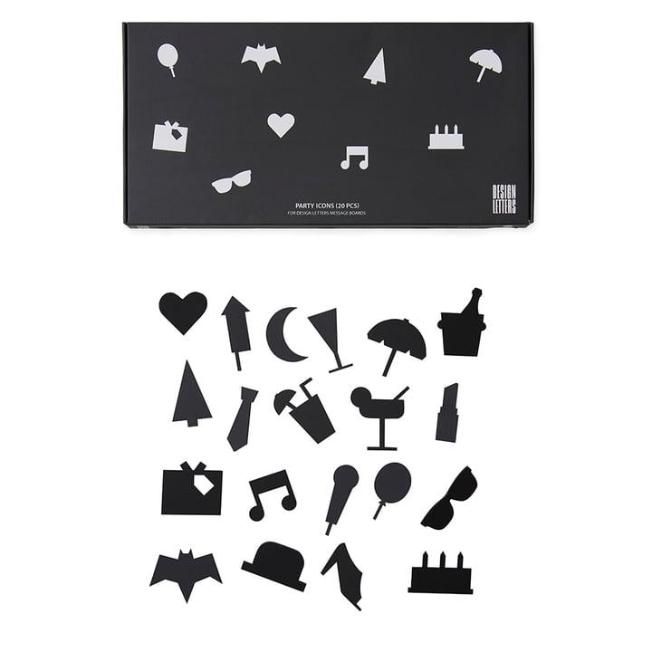 Design Letters - Icons für Message Board, Party / schwarz