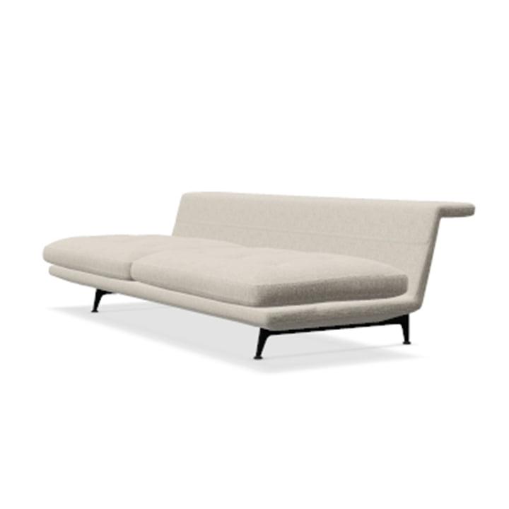 Das Vitra - Grand Sofà 3-Sitzer, beidseitig bündig, Untergestell basic dark / Bezug Corsaro stone melange 05 (Polsterausführung geheftet)