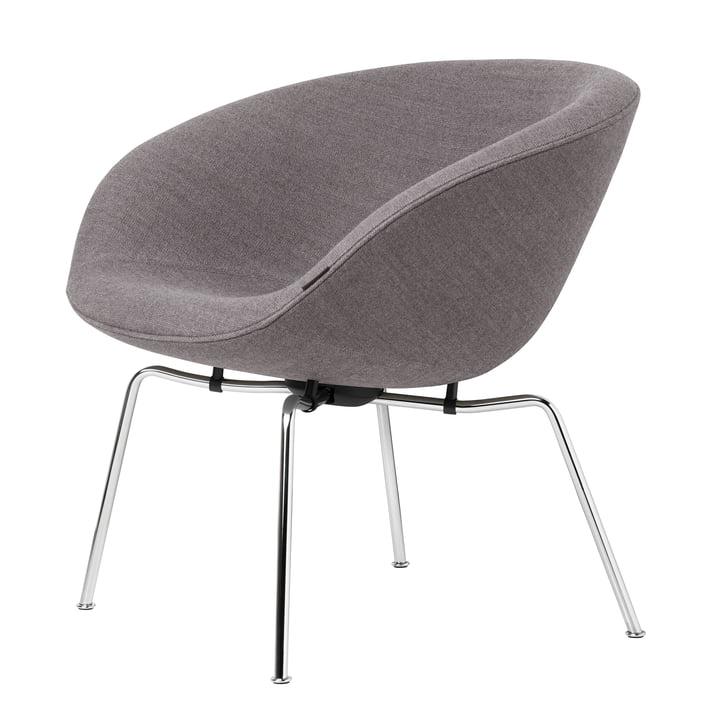 Pot Sessel mit dunkelgrauem Polster und Chrom Gestell