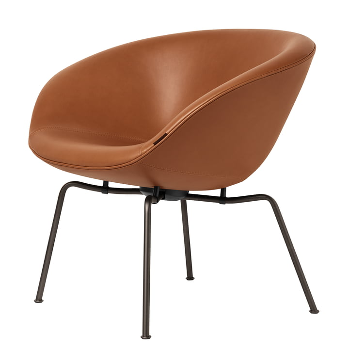 Pot Leder-Sessel in Walnuss von Fritz Hansen