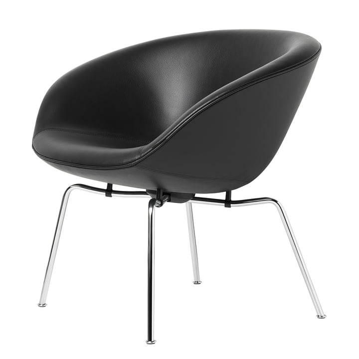 Pot Lounge-Sessel in Schwarz / Chrom von Fritz Hansen