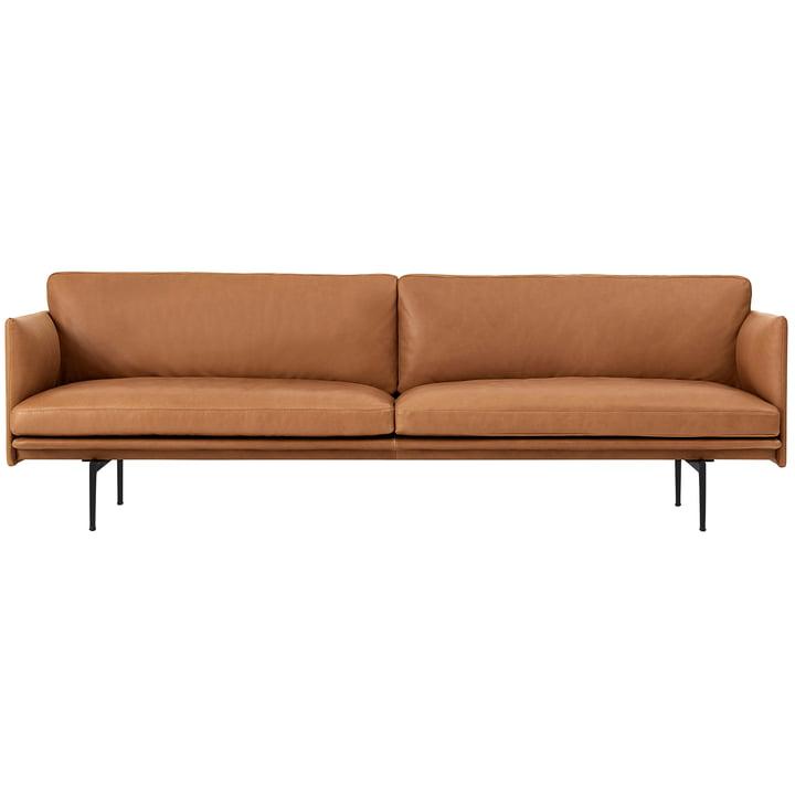 Outline Sofa 3-Sitzer von Muuto in cognac Silk Leather / schwarz (RAL 9017)