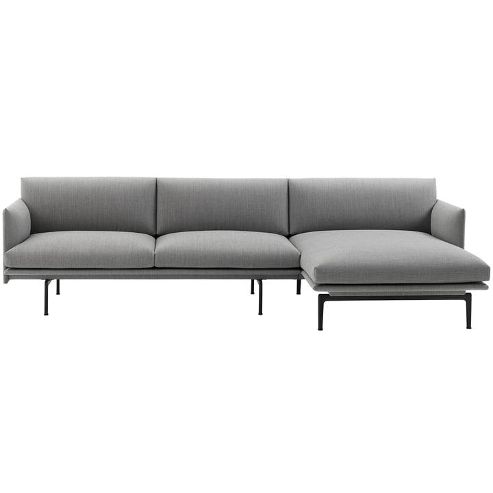 Muuto - Outline Sofa 3-Sitzer mit Chaise Longue rechts, Fiord 151 / verkehrsschwarz (RAL 9017) (EU)