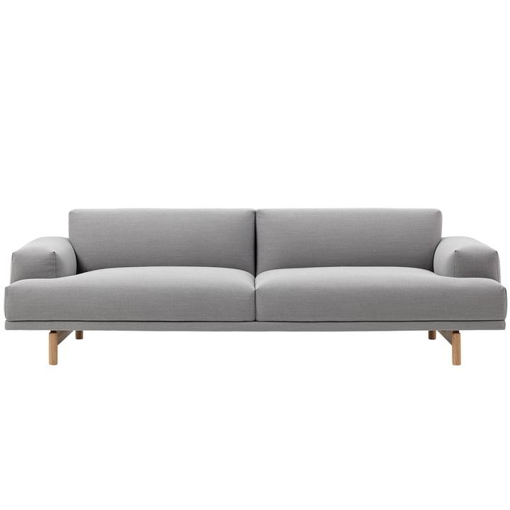 Compose Sofa 3-Sitzer von Muuto in Steelcut Trio 133 / Eiche