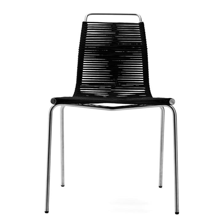 Der Carl Hansen - PK1 Stuhl, Stahl verchromt / Flaggleine schwarz (Filzgleiter)
