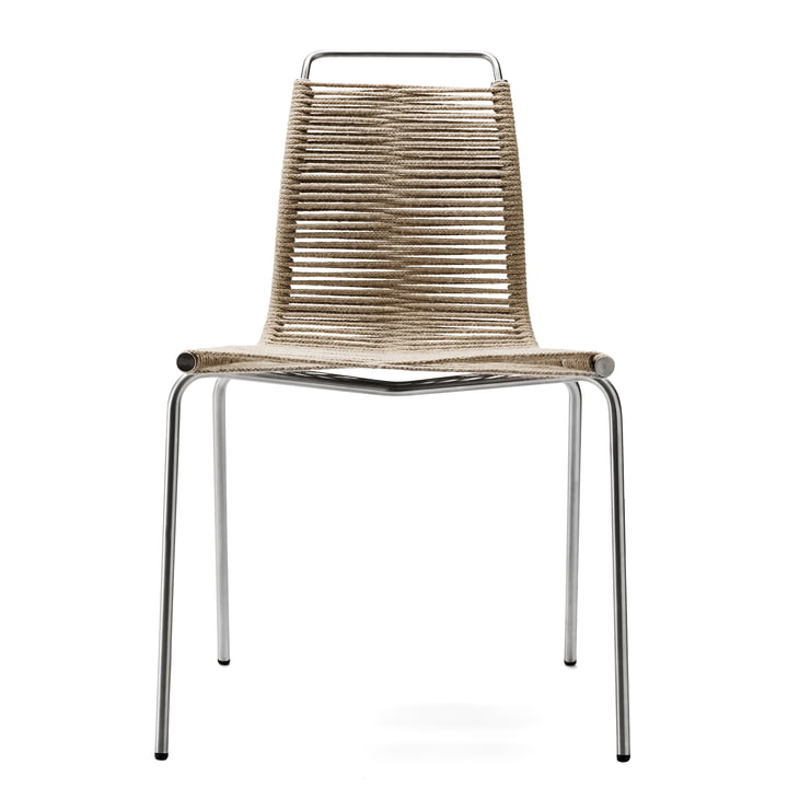 Der Carl Hansen - PK1 Stuhl, Stahl verchromt / Flaggleine natur