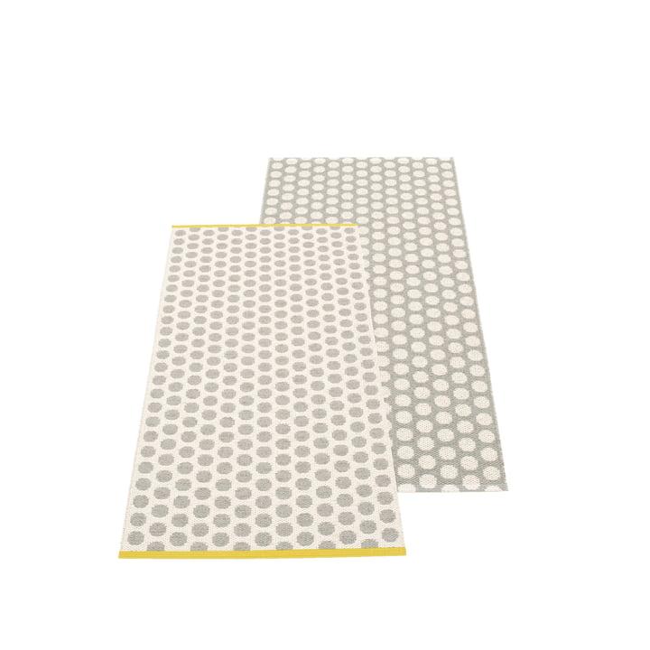 Noa Wendeteppich 70 x 150 cm von Pappelina in Warm Grey / Vanilla / Mustard Edge