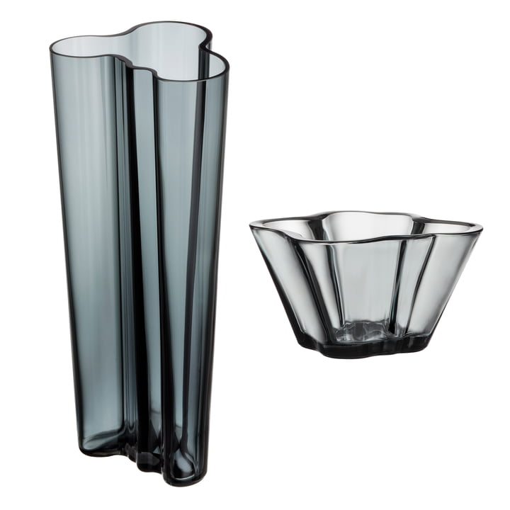 Angebots-Set: Aalto Vase Finlandia 255 mm + Aalto Schale 75 mm von Iittala in Grau