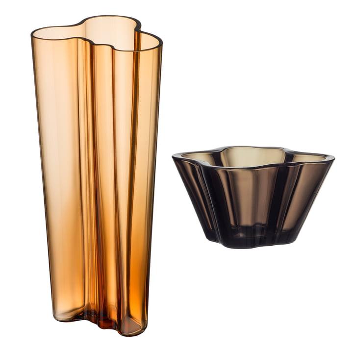 Angebots-Set: Aalto Vase Finlandia 255 mm + Aalto Schale 75 mm von Iittala in Sand