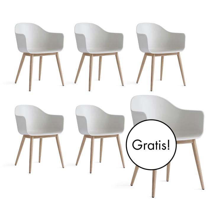 5+1 Angebots-Set: Menu - Harbour Chair (Holz), eiche natur / weiß