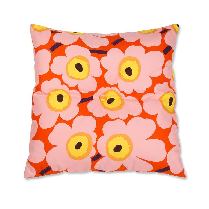 Marimekko - Pieni Unikko Bodenkissen, 65 x 65 cm, orange / rosa / gelb
