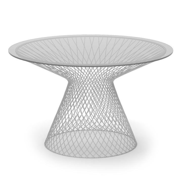 Emu - Heaven Tisch H 75 cm, Ø 120 cm, weiß / Glas rauchgrau