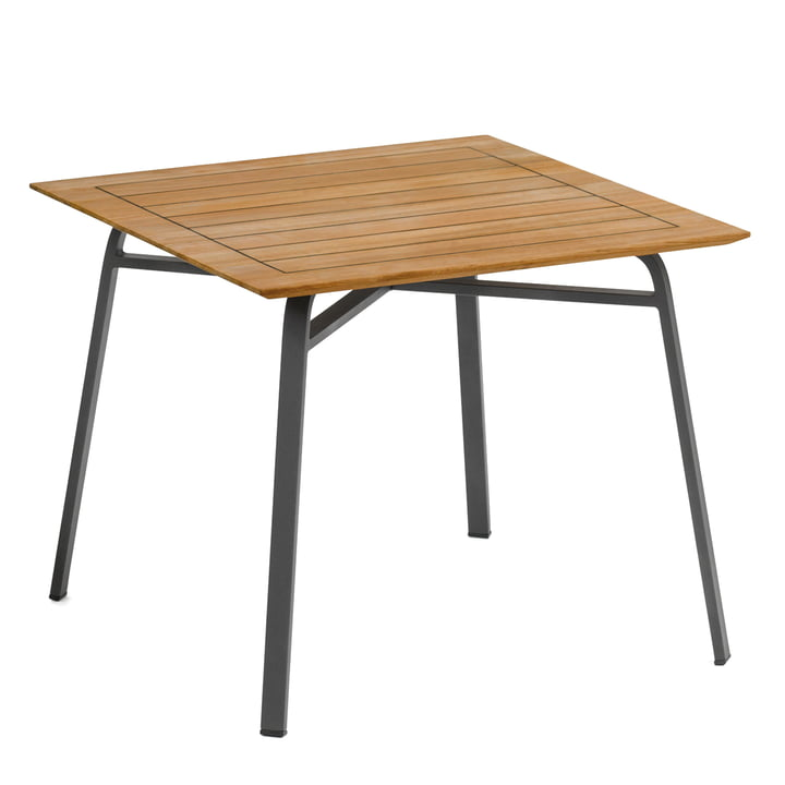 Weishäupl - Ahoi Tisch, 90 x 90 cm, Aluminium grau-metallic / Teak
