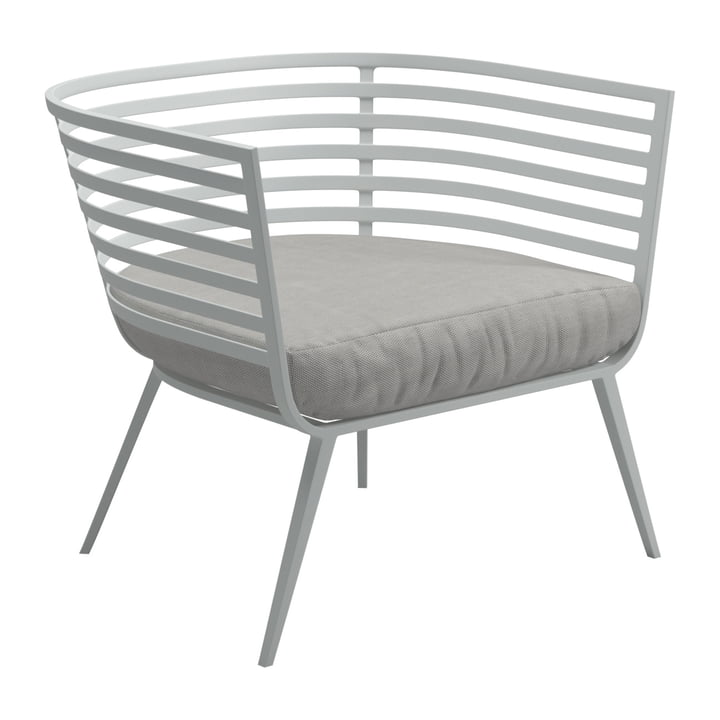 Der Gloster - Vista Lounge Chair, Gestell weiß / Bezug Sunbrella seagull