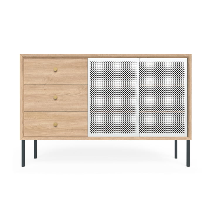 Gabin Sideboard hoch mit Schubladen von Hartô in Eiche / Lichtgrau (RAL 7035)