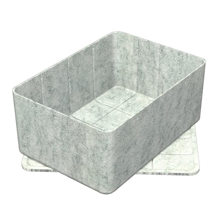 Inos Box mit Tablett, 45,3 x 32,2 cm, H 19 cm von USM Haller in Hellgrau