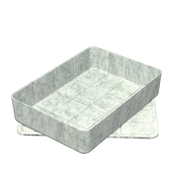 Inos Box mit Tablett, 45,3 x 32,2 cm, H 9,5 cm von USM Haller Hellgrau