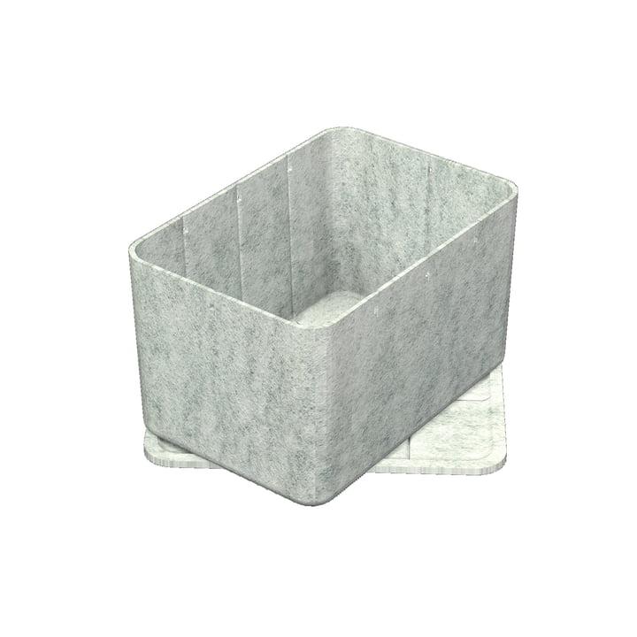 Inos Box mit Tablett, 22,3 x 32,2 cm, H 19 cm von USM Haller in Hellgrau