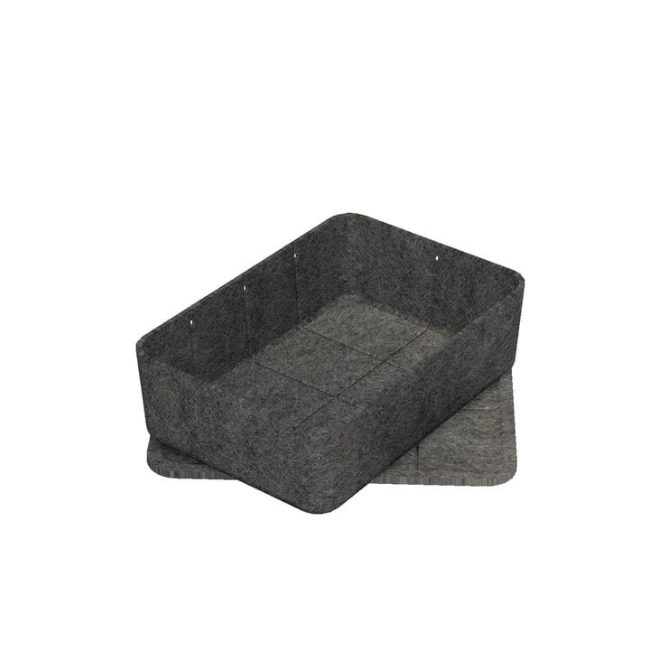 Inos Box mit Tablett, 22,3 x 32,2 cm, H 9,5 cm von USM Haller in Anthrazit