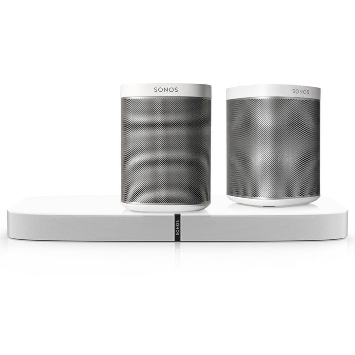 2x PLAY:1 Multiroom Lautsprecher + 1x PLAYBASE von Sonos in Weiß