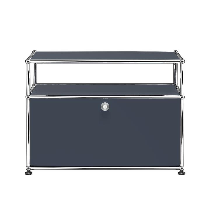 Das USM Haller - TV-/Hi-Fi-Möbel S mit Klapptür und Ablagefläche, anthrazitgrau (RAL 7016)