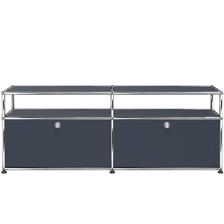 USM Haller - TV-/Hi-Fi-Möbel M zwei Klapptüren und Ablagefläche, anthrazitgrau (RAL 7016)
