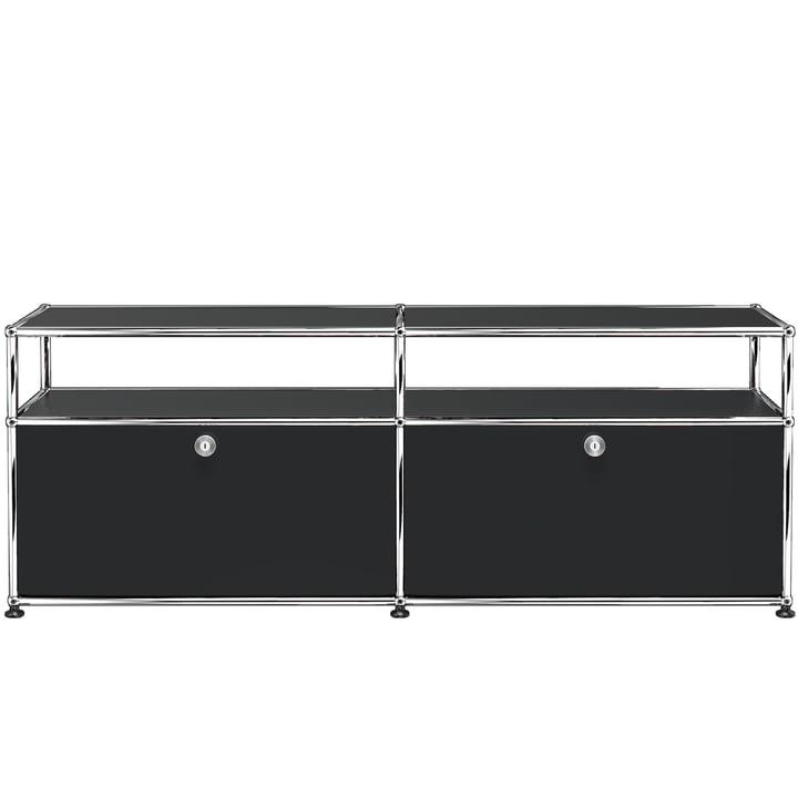 USM Haller - TV-/Hi-Fi-Möbel M zwei Klapptüren und Ablagefläche, graphitschwarz (RAL 9011)