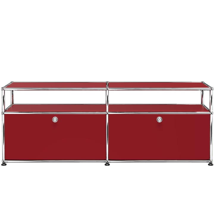 USM Haller - TV-/Hi-Fi-Möbel M zwei Klapptüren und Ablagefläche, USM rubinrot