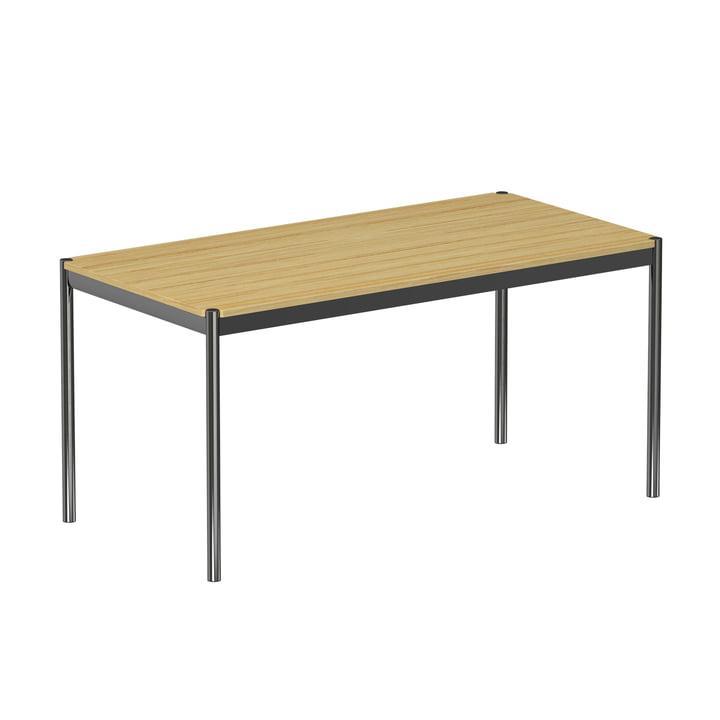Der USM Haller - Tisch, 150 x 75 cm, Gestell Stahl verchromt / Tischplatte Eiche furniert, natur lackiert