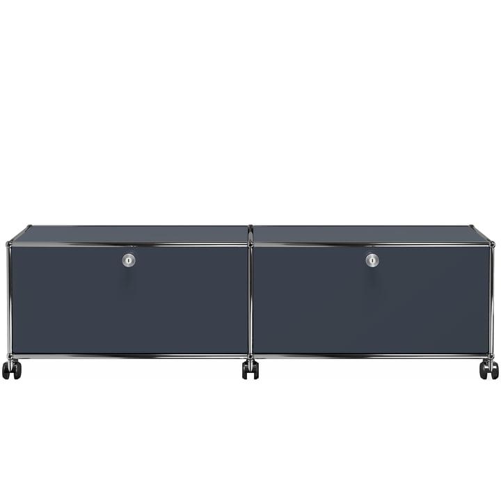 USM Haller - TV-/Hi-Fi-Möbel M zwei Klapptüren und Rollen, anthrazitgrau (RAL 7016)