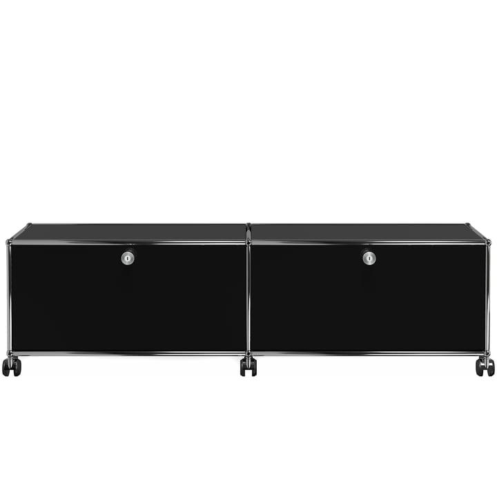 USM Haller - TV-/Hi-Fi-Möbel M zwei Klapptüren und Rollen, graphitschwarz (RAL 9011)