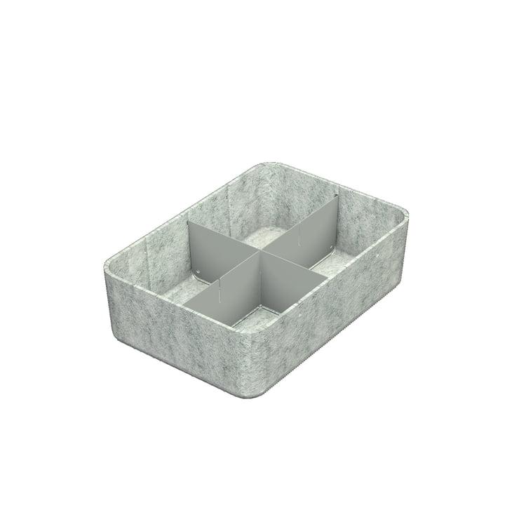 USM Haller - Inos Box mit Unterteilung längs und quer, 22,3 x 32,2 cm, H 9,5 cm / hellgrau