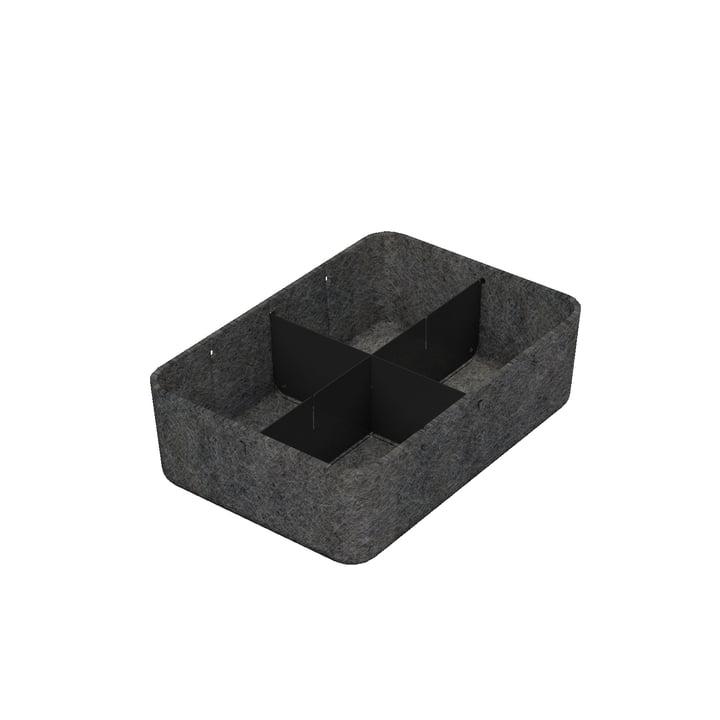USM Haller - Inos Box mit Unterteilung längs und quer, 22,3 x 32,2 cm, H 9,5 cm / anthrazit