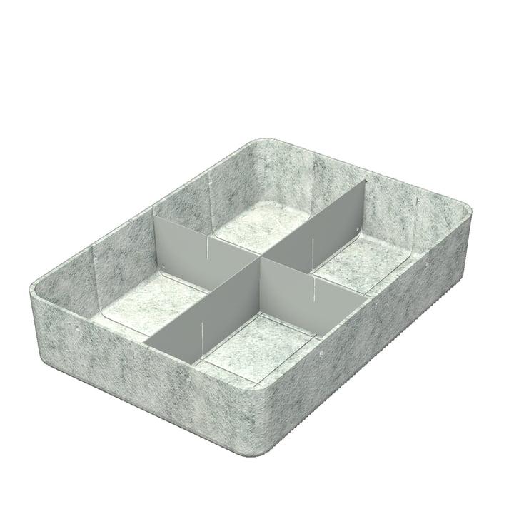 USM Haller - Inos Box mit Unterteilung längs und quer, 45,3 x 32,2 cm, H 9,5 cm / hellgrau